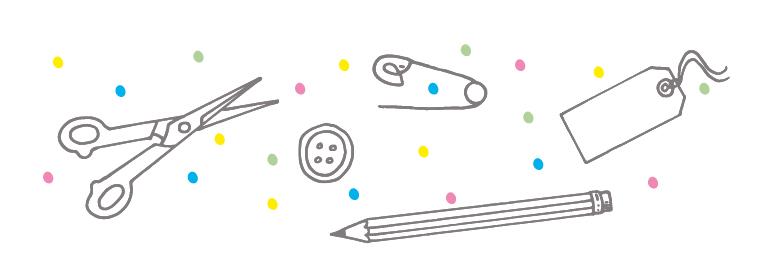 Knopf Schere Stift