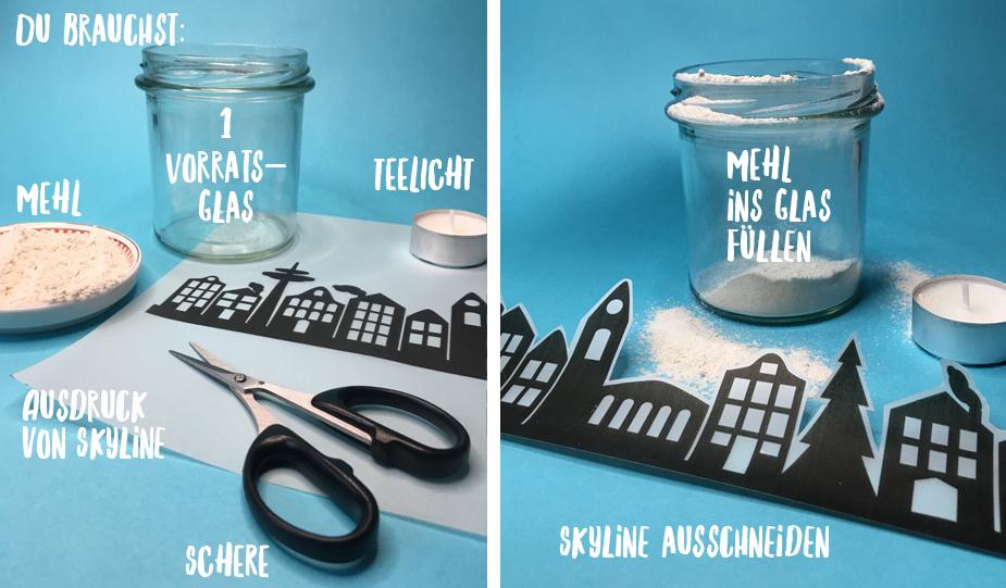 Alles was du brauchst: 1 Schere, etwas Mehl, 1 Vorratsglas, 1 Teelicht, Ausdruck der Vorlage auf Transparentpapier.