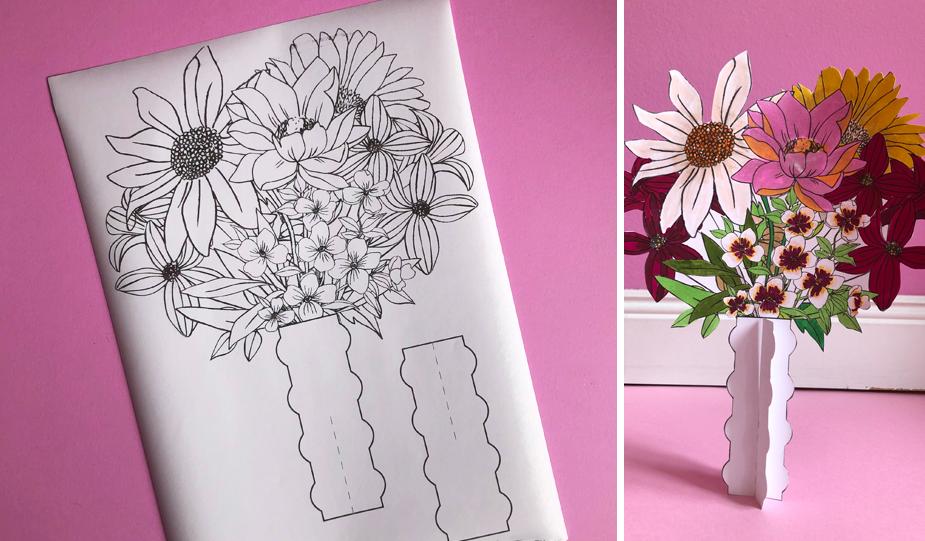 Ausmalvorlage Blumenvase